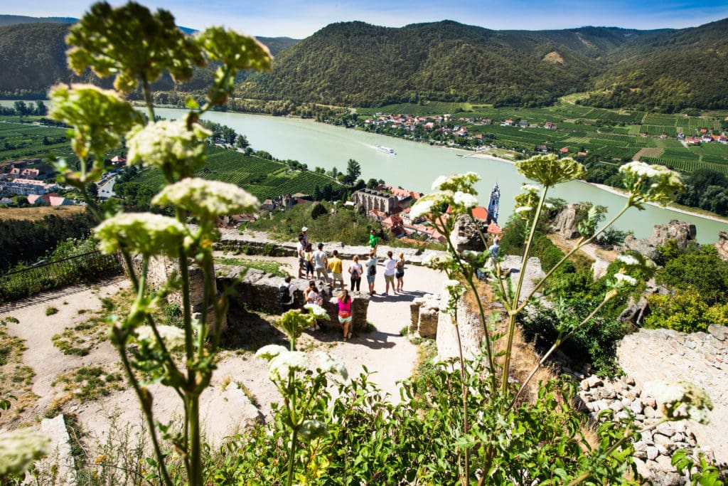 view from famous ruin in Duernstein at Wachau Valley
