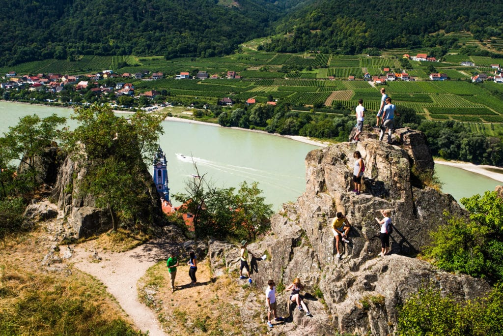 Group enjoys view from ruin at Duernstein at Wachau Valley