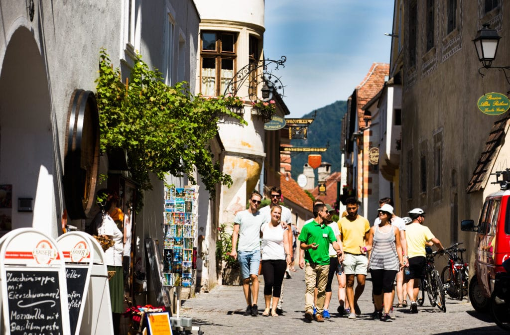 Group walks through Duernstein at Wachau Valley