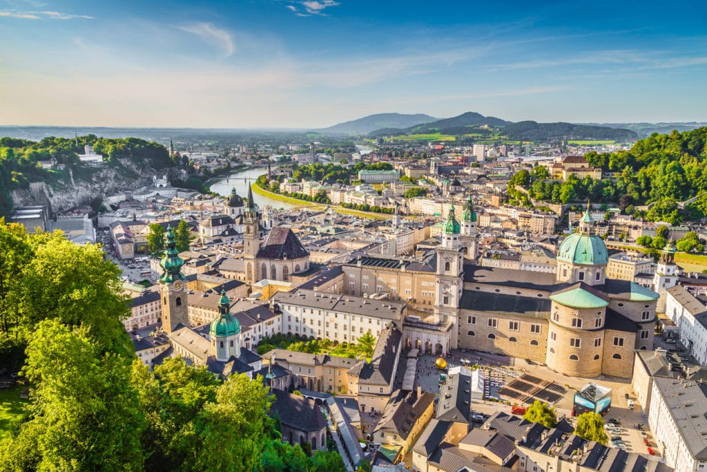 view over Salzburg old town