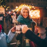 group drinks malt wine at Vienna Christmas market